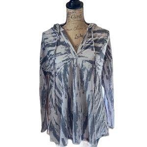Bucketlist gray/white long sleeved hooded top